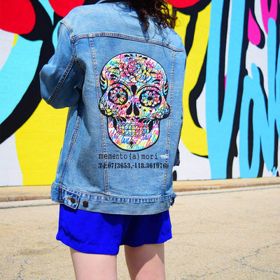 "Unisex Denim Jacket ""memento (a) mori"" by Ruben Rojas Lifestlye Close Up"