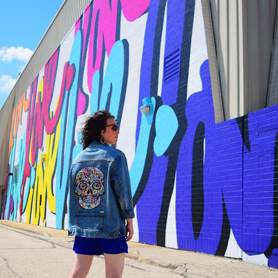 "Unisex Denim Jacket ""memento (a) mori"" by Ruben Rojas Love Mural"