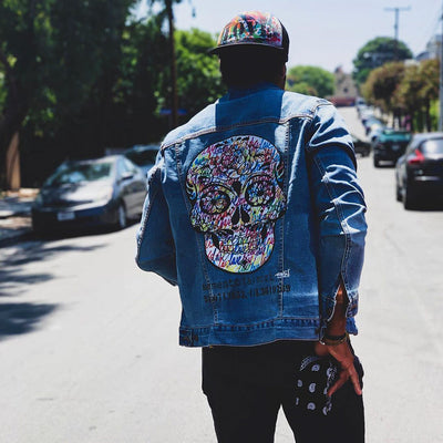 "Unisex Denim Jacket ""memento (a) mori"" by Ruben Rojas Lifestyle Los Angeles"