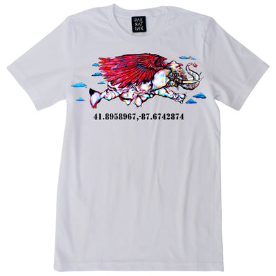 "PakRat Ink Unisex White T-shirt ""Take Off"" by Bunny!XLV"