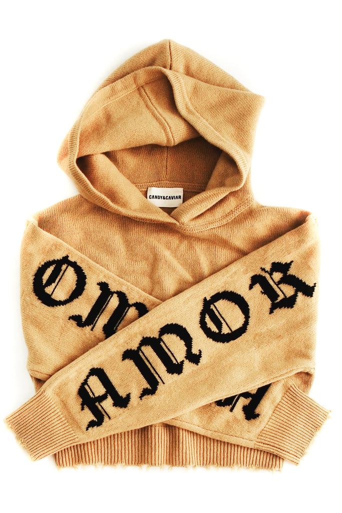 Amor Vincit Omnia Cropped Cashmere Hoodie (Mustard)