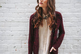 Women's Ox Blood/black Shawl Cardigan