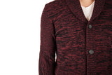 Men's Ox Blood/black Cashmere Shawl Cardigan