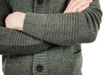 Men's Army Green Cashmere Shawl Cardigan