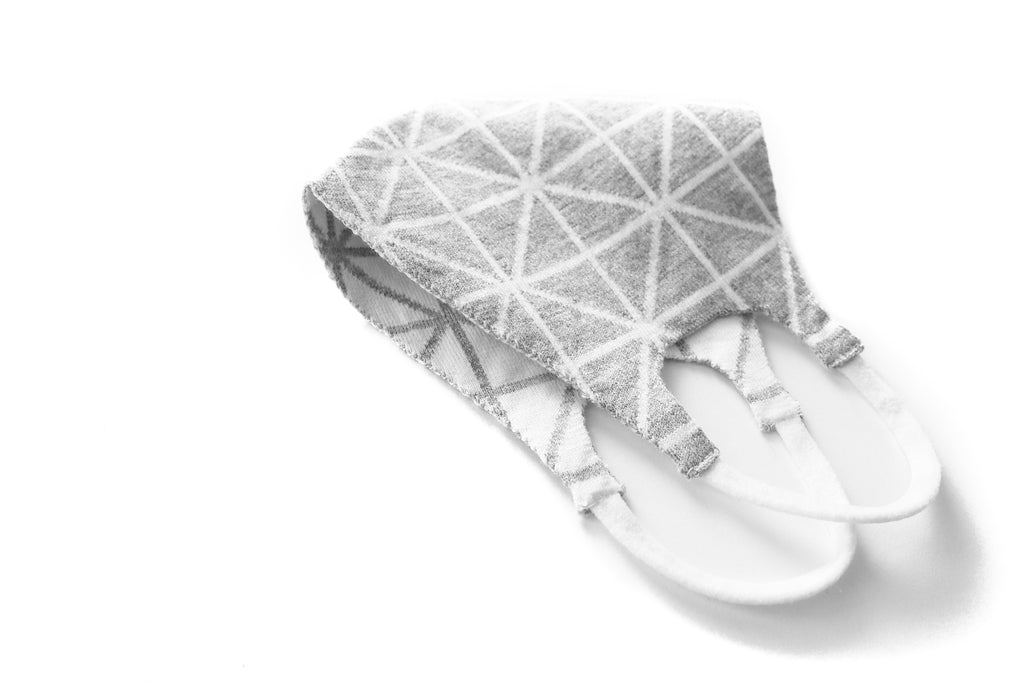 Geometric Reversible Jacquard Knit Mask (Grey/White)