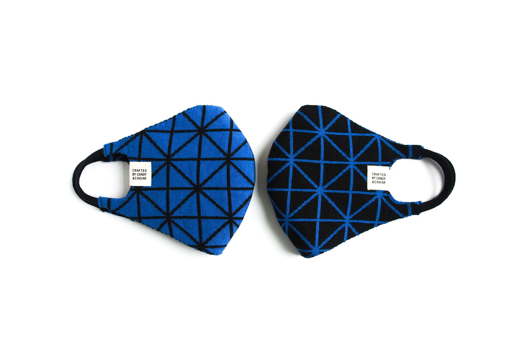 Geometric Reversible Jacquard Knit Mask (Blue/Black)