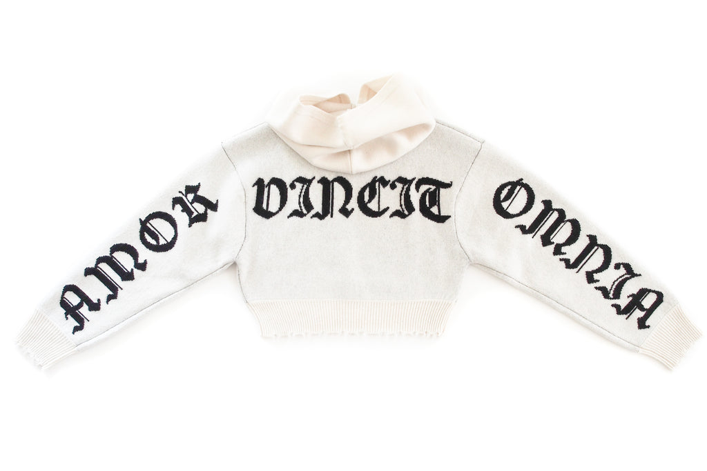 Amor Vincit Omnia Cropped Cashmere Hoodie (White)