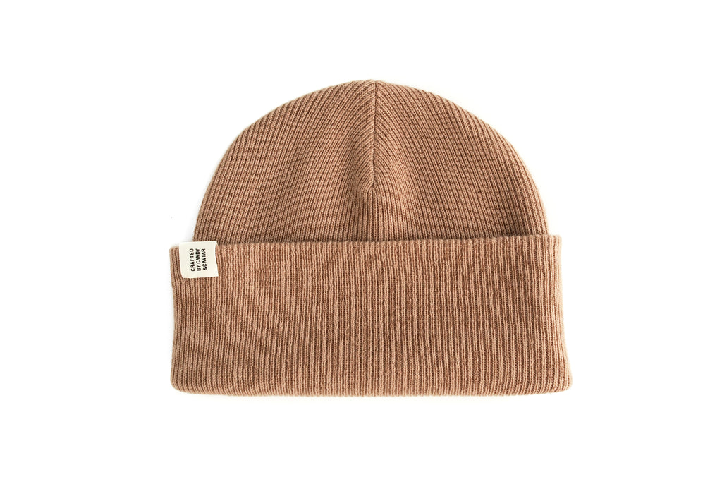 Ribbed Cashmere Beanie (Burnt Sugar)