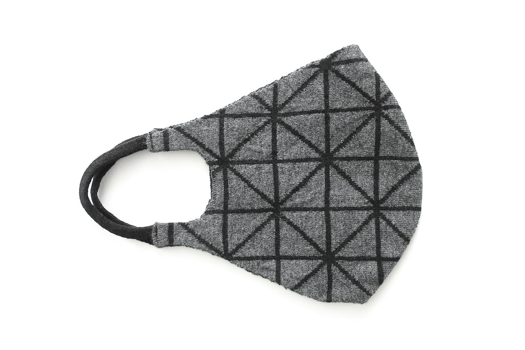 Geometric Reversible Jacquard Knit Mask (Black/Charcoal)