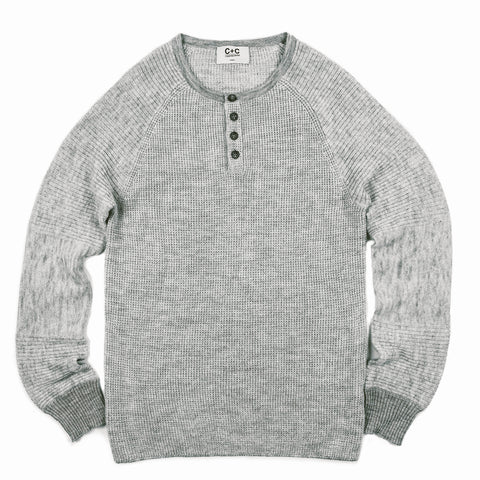 Men's Grey+Ivory Cashmere Henley
