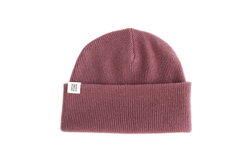 Ribbed Cashmere Beanie (Mauve Pink)