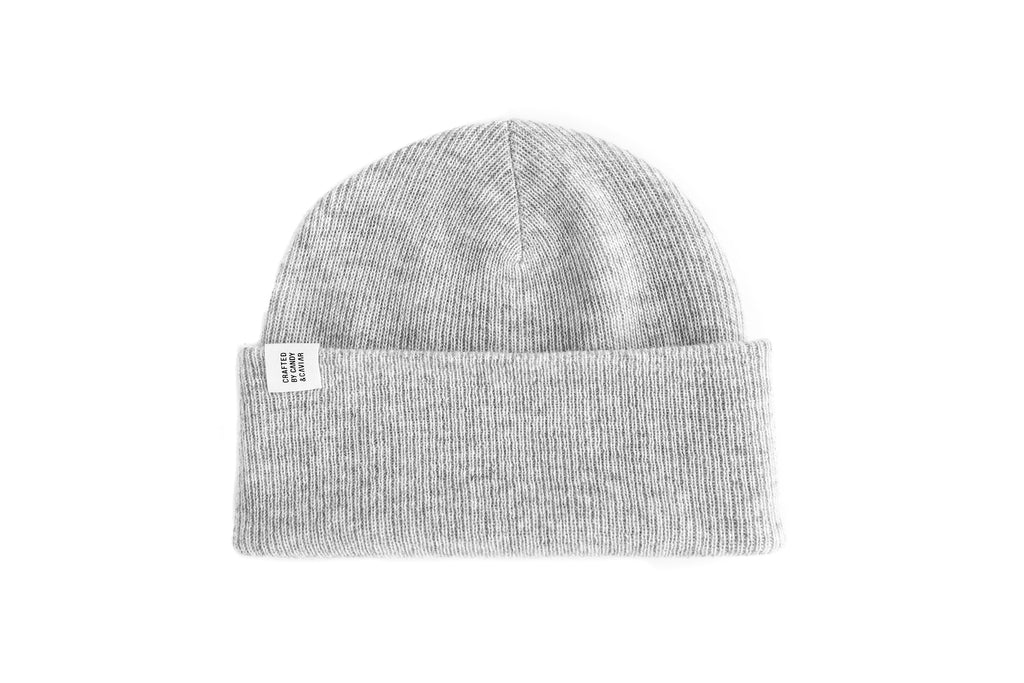 Ribbed Cashmere Beanie (Mute Grey)