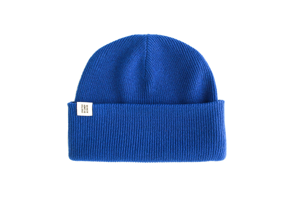 Ribbed Cashmere Beanie (Ocean Blue)