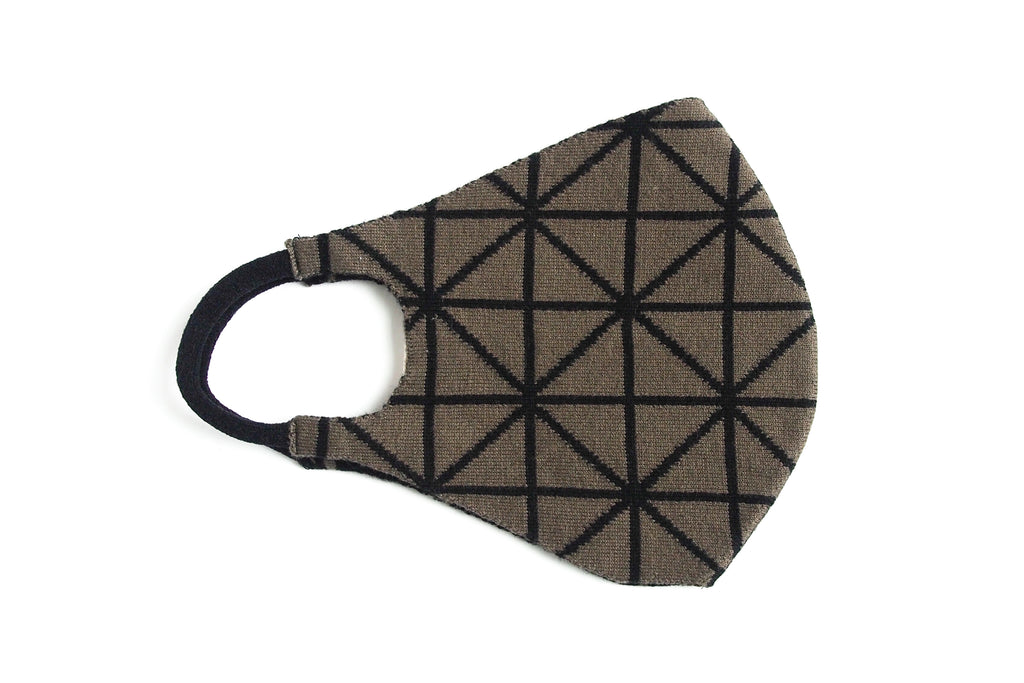 Geometric Reversible Jacquard Knit Mask (Olive/Black)