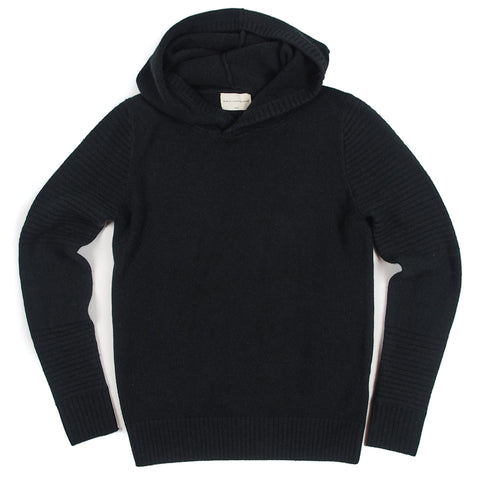 Women's Black Cashmere Pullover Hoodie