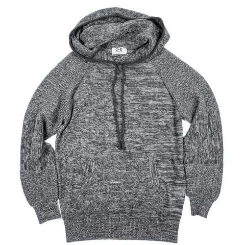 Men's Grey+Charcoal Cashmere Pullover Hoodie