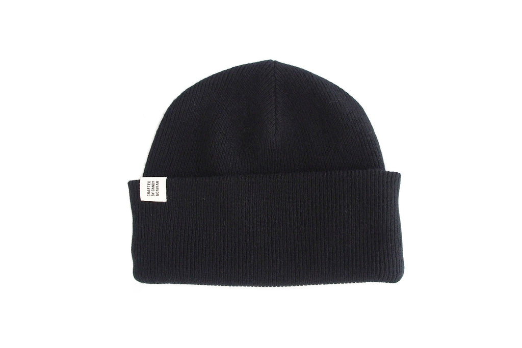 Ribbed Cashmere Beanie (Black)