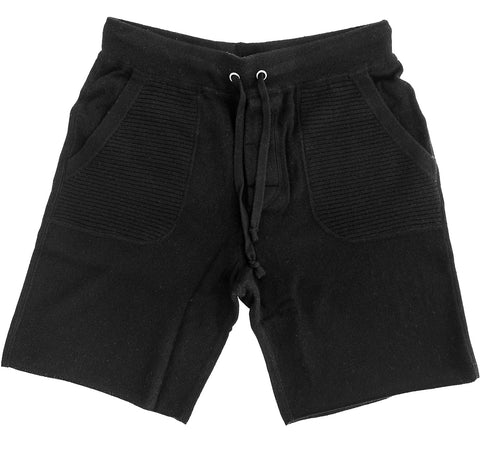 Men's Solid Black Cashmere Sweatshorts