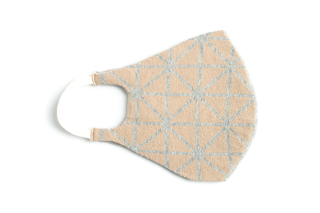 Geometric Reversible Jacquard Knit Mask (Taupe/Grey)