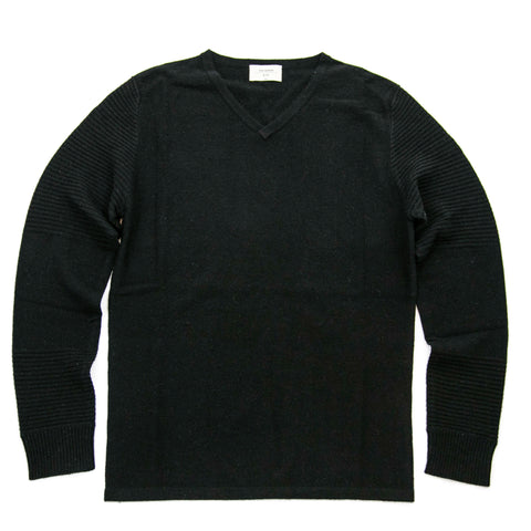 Men's Black Cashmere Vneck