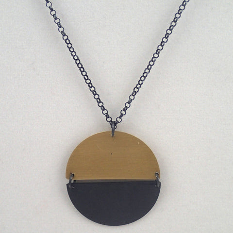 Hemisphere Necklace in brass and oxidized