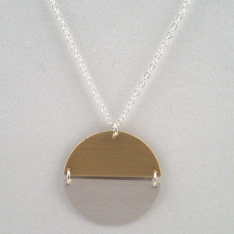 Hemisphere Necklace in silver and brass