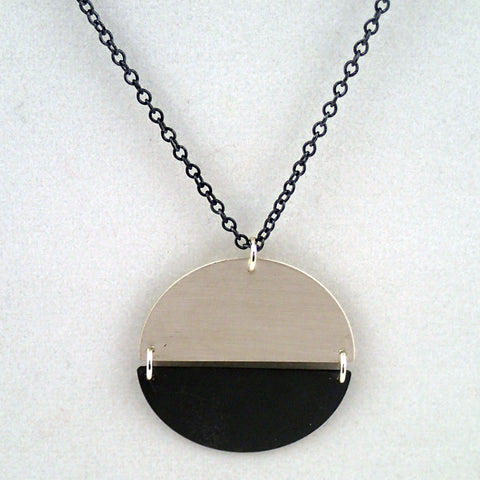 Hemisphere Necklace in silver and oxidized