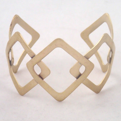 Brass Five Diamonds Cuff Bracelet