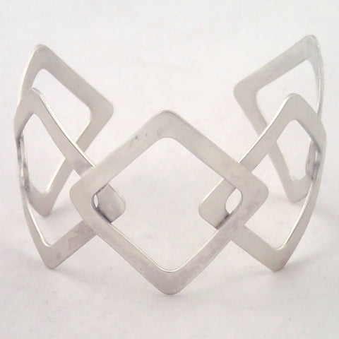 Silver Five Diamonds Cuff Bracelet