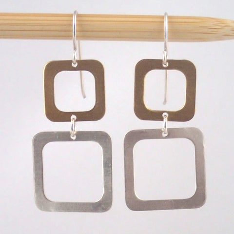 Two Square Earrings in Silver and Brass