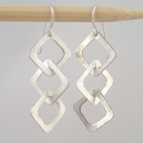 Small silver Three Diamond earrings