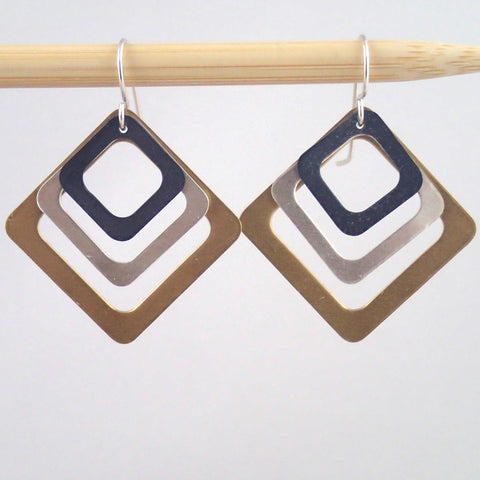 Third Base earrings in Mixed Metals
