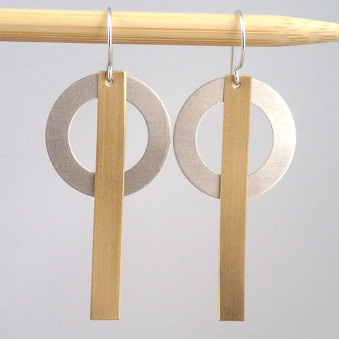Silver and Brass Ring & Bar earrings