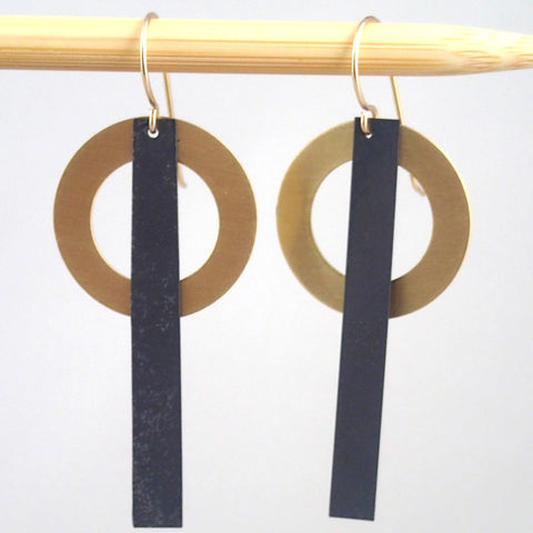 Brass and oxidized Ring & Bar earrings