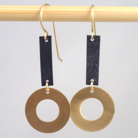 Small Brass and oxidized Ring & Bar earrings