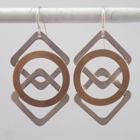 Silver and Brass Argyle earrings