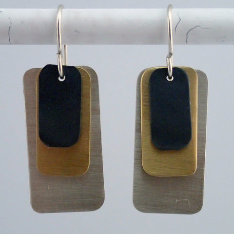 Dog Tag Earrings in Mixed Metals