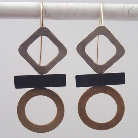 Hieroglyph Earrings in Mixed Metals