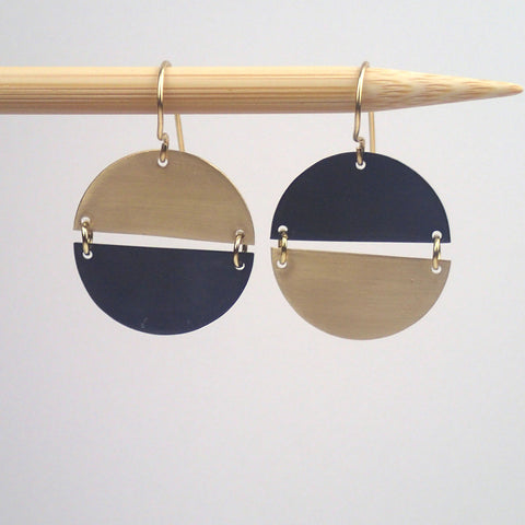 Brass and Oxidized Hemisphere earrings