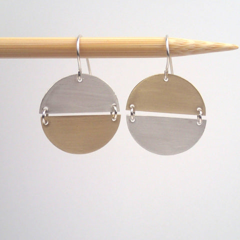 Silver and Brass  Hemisphere earrings