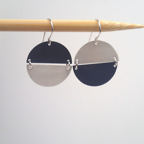 Silver and Oxidized  Hemisphere earrings