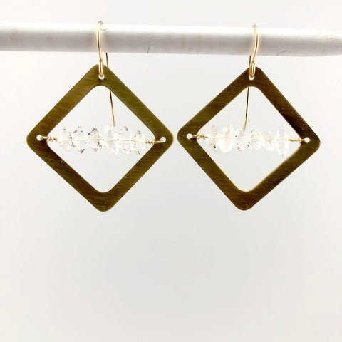 Herkimer Diamond earrings in Brass