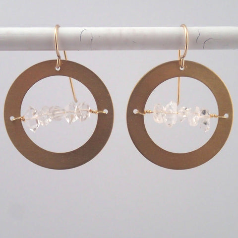 Herkimer in the Round earrings in Brass