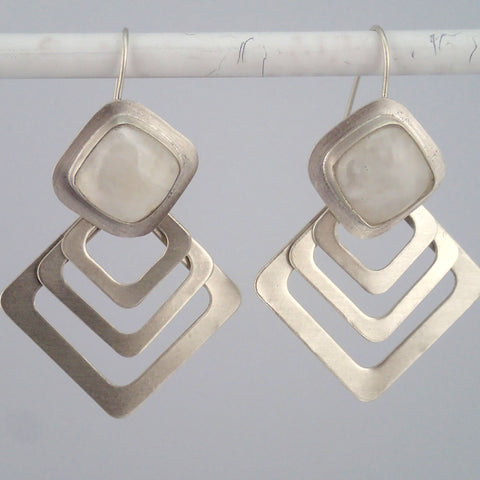 Home Plate earrings with Moonstone