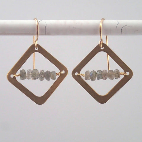 Labradorite Diamond earrings in Brass