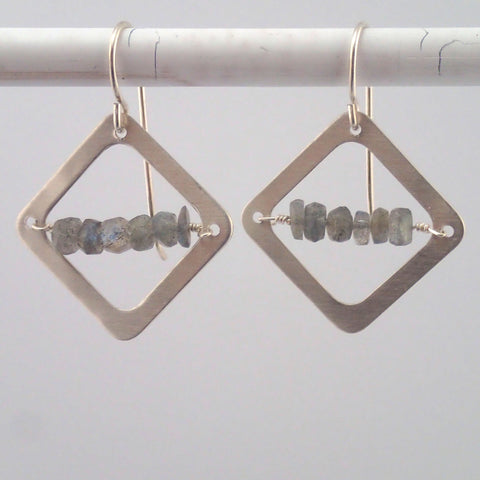 Labradorite Diamond earrings in Silver