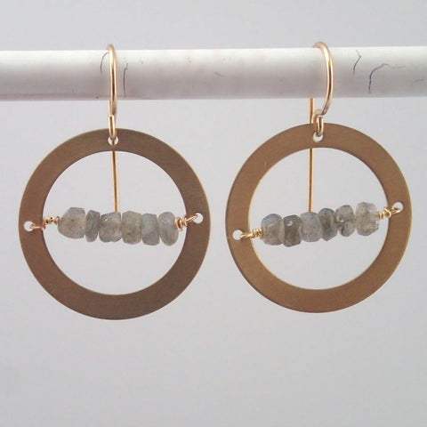 Labradorite in the Round earrings in Brass