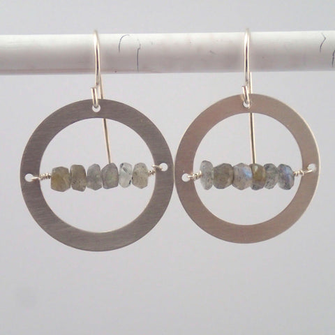 Labradorite in the Round earrings in Silver