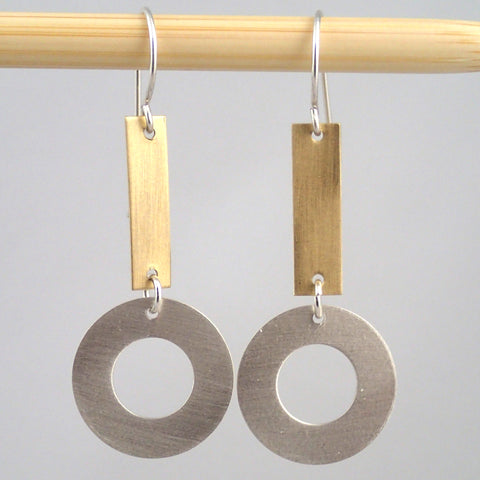 Small Silver and Brass Ring & Bar earrings