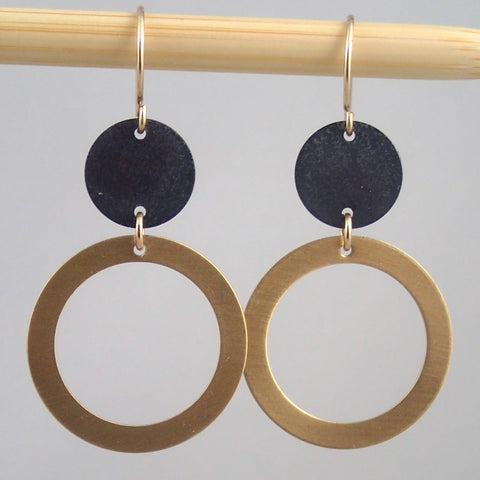 "Brass and oxidized ""satellite"" earrings"
